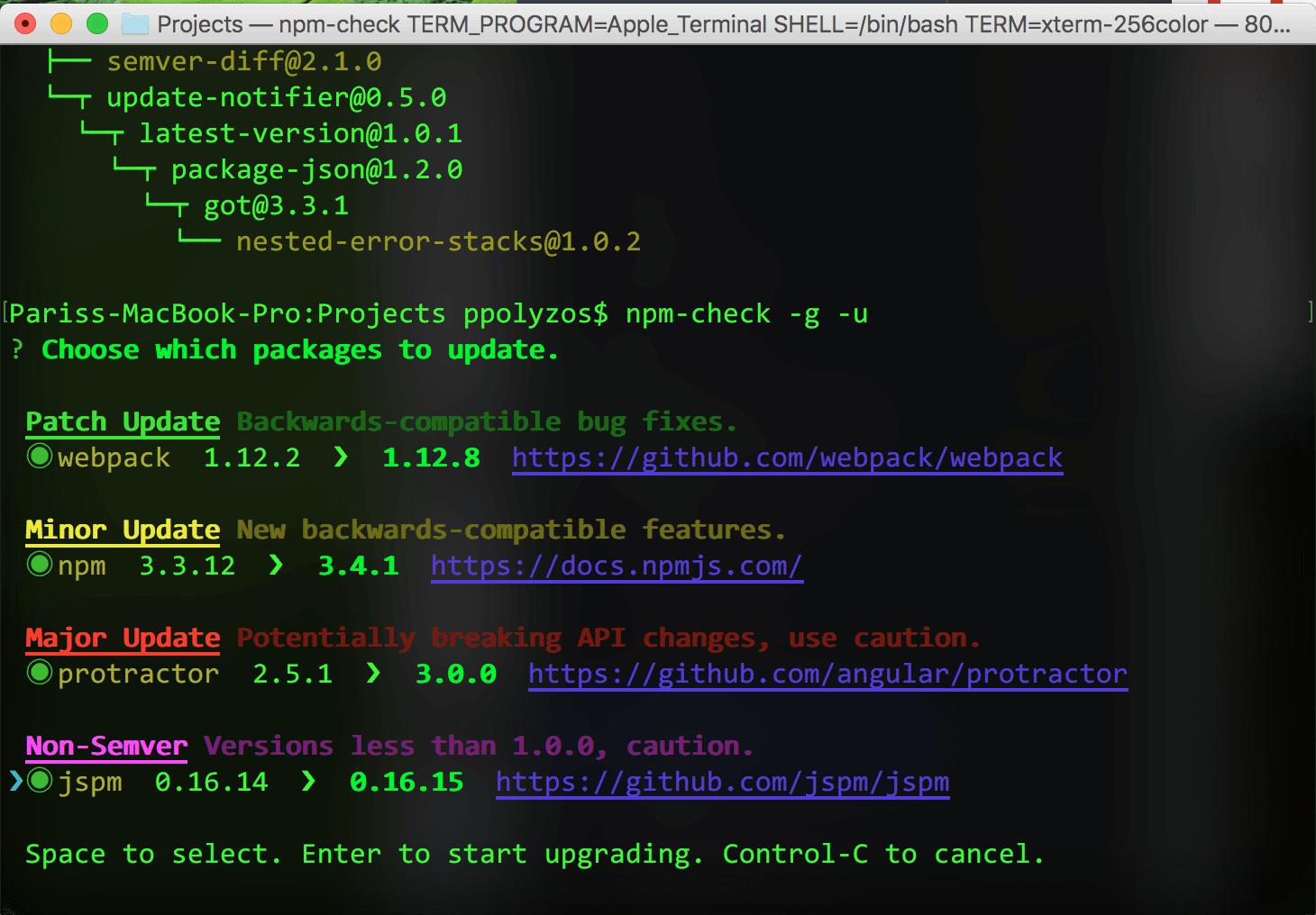 npm-check-interactive