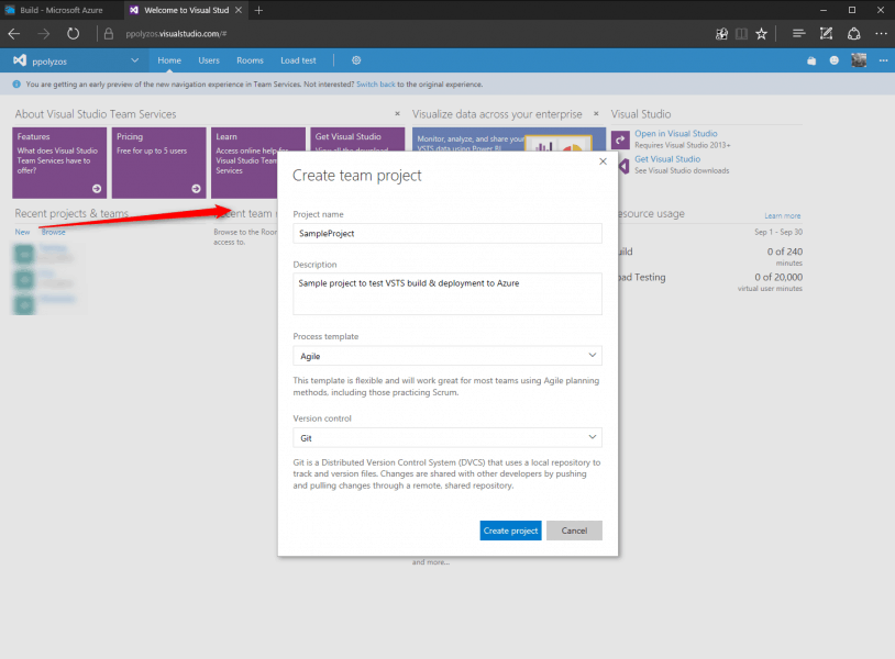 vsts-create-project