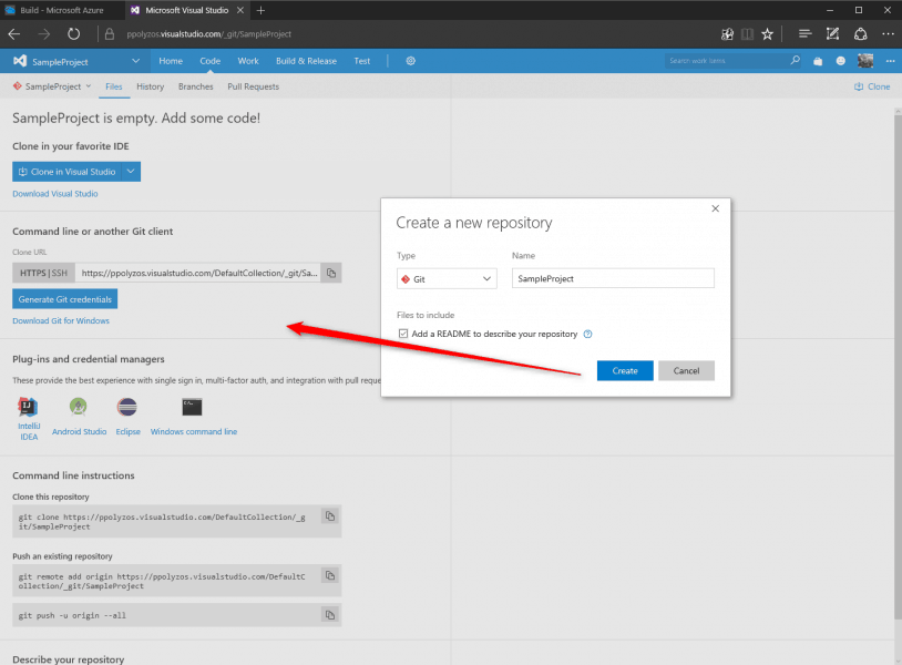 vsts-create-sample-code-repository