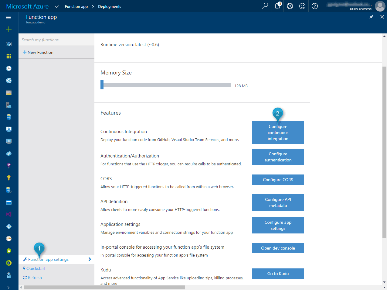 Setting up local environment for Azure Functions and