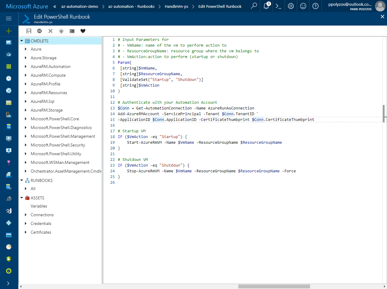 Schedule startup and shutdown of your virtual machines using Azure