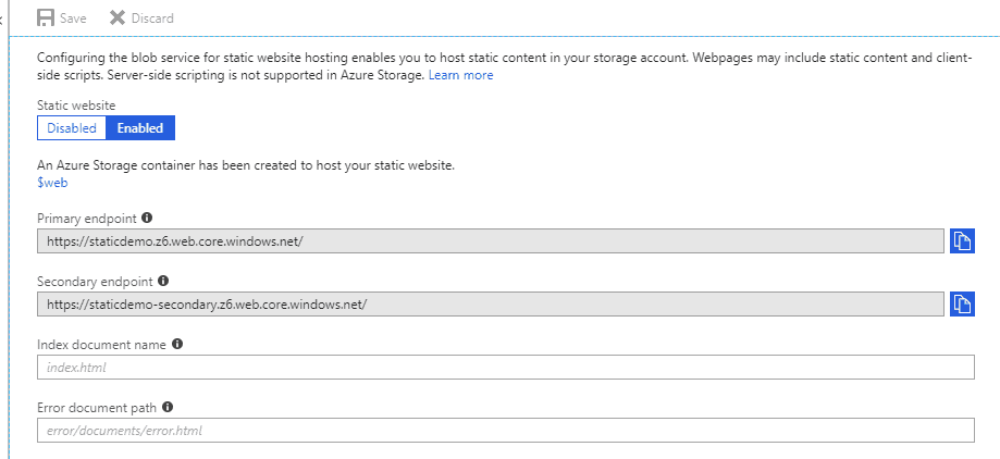 Host your static website on your Azure Storage account